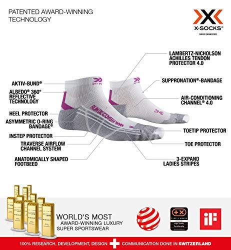 X-Socks Run Discovery Woman, Calze Donna, White/Twyce Purple/Grey Melange, L