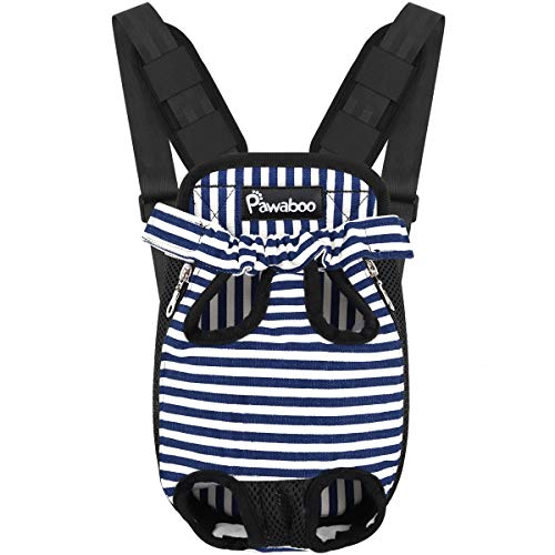 Pawaboo Pet Carrier Backpack, Adjustable Pet Front Cat Dog Carrier Backpack Travel Bag, Legs Out, Easy-Fit for Traveling Hiking Camping for Small Medium Dogs, Small Size, Blue and White Stripes