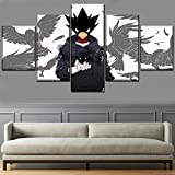 WARMBERL Cuadro sobre Lienzo Wall Art Set Frame 5 Panel Fumikage Tokoyami Poster Anime Hero Picture Impresión En Lienzo Pintura Decoración del Hogar Impresiones En Lienzo