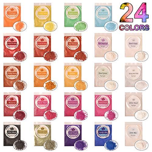 DEWEL 240g Naturale Pigmenti Coloranti, Mica Powder 10g*24 Colori Mica Polvere Colorante Polveri Perlato per DIY,Sapone, Slime,Candele, Acquerello, Co