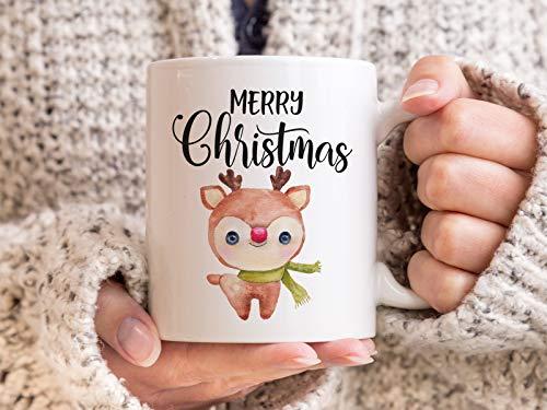 Tachinedas Kreativshop Weihnachtstasse mit Rentier und Spruch Bedruckte Tasse Frohe Weihnachten
