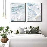 VVSUN Playa Paisaje costero Carteles Impresiones Gran océano Azul Ola Surf Pared Arte Lienzo Pintura Imagen Oficina decoración del hogar 50x70 cm 20x28 Pulgadas x 2 sin Marco