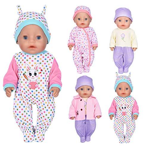 ebuddy 7-teilige Puppenkleidung Inklusive Bodysuit-Hut und Mantel für 43 cm Neugeborene Babypuppen / 15-Zoll-Babypuppe