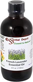 French Lavender Essential Oil - 4 oz - GC/MS Tested - Skin Safe - Supplied in 4 oz. Amber Glass Bottle with Black Phenolic Cone Lined and Safety Sealed Cap