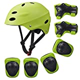 Kids Sports Knees Elbows Wrists Head Support Protection Helmet Set for Unisex Toddler Children Extreme Sports Youth Roller Bicycle BMX Bike Skateboard Protector Guards Pads -7Pcs(Green)