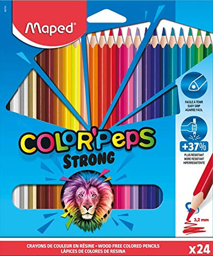 Maped – Lápices de colores STRONG Color'Peps – 24 lápices de colorear ultra resistentes y ergonómicos – Estuche de 24 lápices