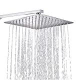Regendusche 12 Zoll Quadratischer Einbauduschkopf 304 Edelstahl Duschkopf poliert Spiegeleffekt Kopfbrause Regenbrause mit Anti-Kalk-Dsen 30 X 30 cm Wasserfall Regenduschkopf -Conhee