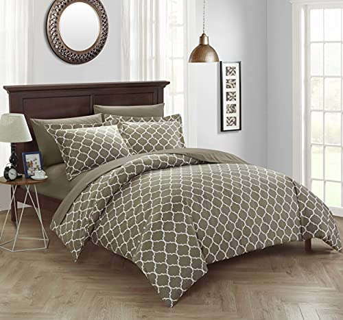 Chic Home 3 Piece Brooklyn Duvet Cover Set, Queen, Taupe
