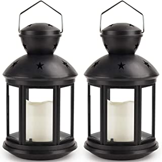 Bright Zeal 2-Pack Hexagon Candle Lantern with LED Flameless Candles Flickering (Black, 8