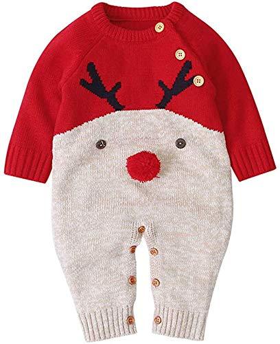 Carolilly Unisex Baby Strampler Weihnachten Elch Rentier Cartoon Strick Langarm und Rote Nase Winter (rot, 0-3 Monate, 70)