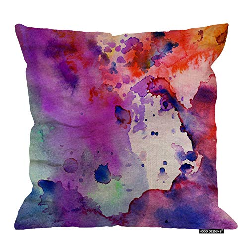 HGOD DESIGNS Throw Pillow Cover Watercolor Pastel Abstract Grunge with Paint Splatter Orange Stoke Decorative Pillow Case Home Decor Square 18X18 Inches Pillowcase