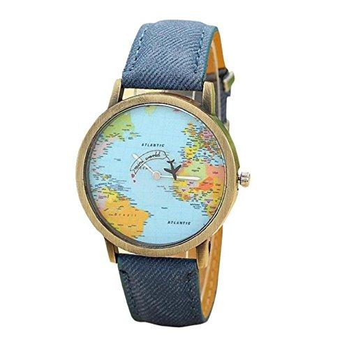 KanLin Mujer Reloj de Casual, banda de tela de denim, Global Fly mapa marcar (Azul)