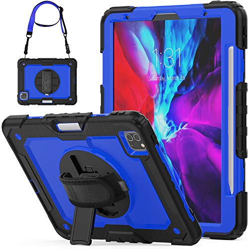 SEYMCY Case for iPad Pro 11 2020/2018, 360 Degree Rotatable Hand Strap Sturdy Case with Screen Protector/Pencil Holder, Full-Body Rugged Kickstand Protective Case for iPad Pro 11 inch, Black/Blue