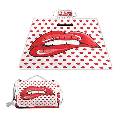 LORONA Picknickdecke mit roten Lippen, gepunktet, handliche Matte, schimmelresistente und wasserdichte Campingmatte für Picknicks, Strände, Wandern, Reisen, RVing und Ausflüge