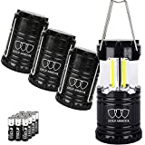 Gold Armour 4 Pack LED Camping Lantern Portable Flashlight with 12 aa Batteries - Survival Kit for Emergency, Hurricane, Power Outage Great