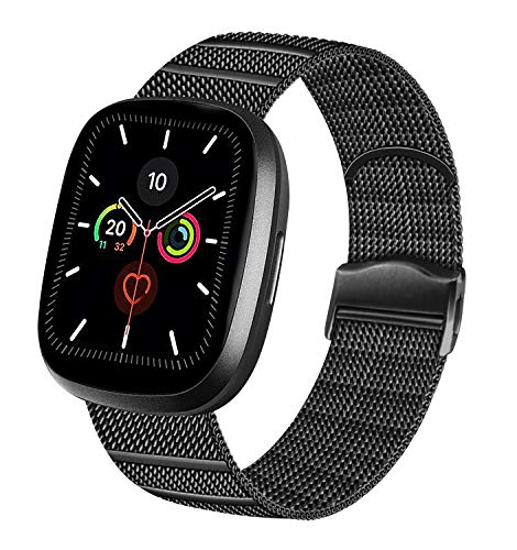 Vanjua Metal Correa Compatible Con Apple Watch Correa 44Mm 42Mm 38Mm 40Mm,Pulsera De Repuesto De Inoxidable Correa Para IWatch Series 6 5 4 3 2 1,Mujer Y Hombre (42Mm/44Mm, 02 Negro)