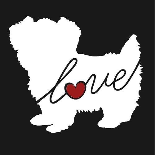 Morkie (Maltese / Yorkie) Love - Car Window Vinyl Decal Sticker (Script Font