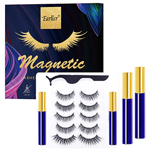 EARLLER 2021 Magnetic Eyelashes with Eyeliner Kit,5 Pairs Natural Look False Lashes with Applicator - Easy to Apply and No Glue Needed, 3D & 5D Reusable Short and Long Eyelashes Set