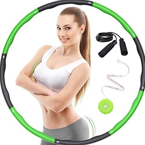 LEJAJA Hula Hoop Reifen inkl. 1.2kg Hula Hoop Erwachsene Fitness Versterlibar Breite 72-95cm (28-37 Zoll) Schaumstoff Gepolster für allgemeines Training für Erwachsene mit Springseil und Maßband