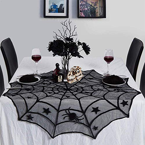 Lintimes - Mantel de Tela para Halloween, diseño de telaraña, Color Negro, decoración para Halloween, casa, Fiesta, Supplies – 40 Pulgadas
