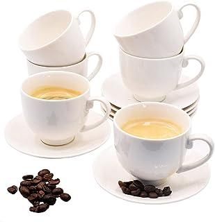 Bebuy24 Lot de 12 tasses à expresso / moka en porcelaine blanche 75 ml