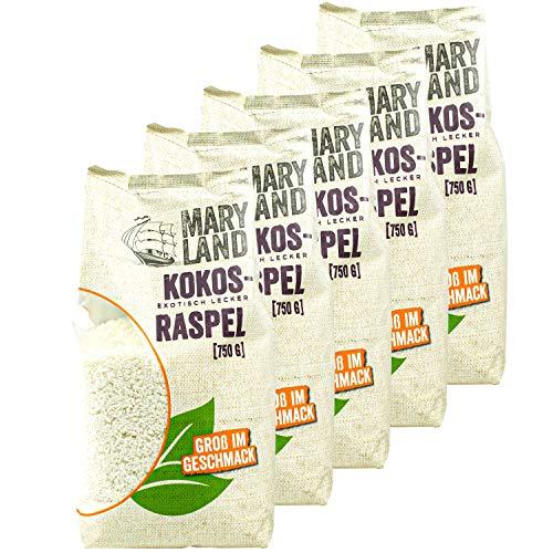 Maryland - 5er Set Kokosraspeln ungesüßt in Premium Qualität 750 g Packung - Getrocknete Kokosflocken exotisch lecker - Kokos Coconut Flakes ideal für Müsli, Süßspeisen, als Topping oder zum Backen