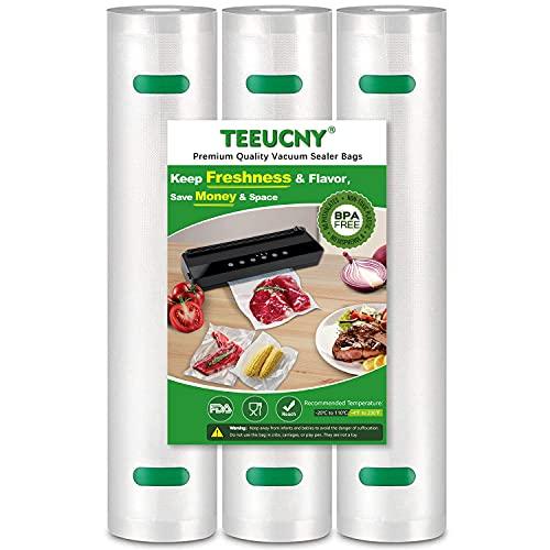 TEEUCNY Bolsas de Vacio para Alimentos, 3 Rollos 28X400cm Rollos al Vacio para Envasadora al Vacío, Bolsas de Vacio Gofradas para Conservación de Alimentos y Sous Vide Cocina & Boilable, Sin BPA