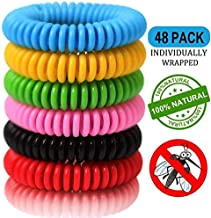 48 Pack Mosquito Repellent Bracelets, Natural and Waterproof Wrist Bands for Adults, Kids, Pets - [Individually Wrapped], Travel Protection Outdoor - Indoor