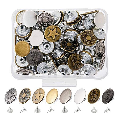 Yakamoz 17mm タックボタン ジーンズ 金具 釦 レザークラフト工具 コート ジャケット ズボン? 置換 ボタン 手芸 diy 80セット(8種類、各10個)