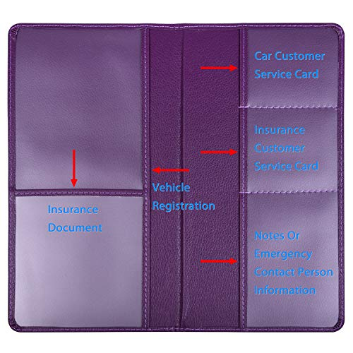 Wisdompro Car Registration and Insurance Documents Holder - Premium PU Leather Vehicle Glove Box Paperwork Wallet Case Organizer for ID, Driver's License, Key Contact Information Cards (Purple)