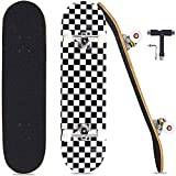Pwigs Pro Complete Skateboards for Beginners Adults Youths Teens Girls Boys 31'x8' Skate Boards 7 Layers Deck Maple Wood Longboards(Black)