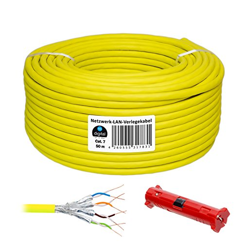Cat 7 HB Digital Basic Cable de red LAN cat5sh – Cabel Cobre Profi S/FTP PIMF libre de halógenos de RoHS compliant Cat. 7 50m + Abisolierer amarillo