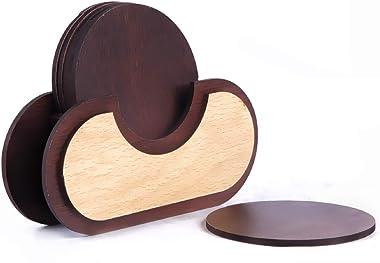 Kshavi Wooden Handmade Set of 6 with Decorative Holder Table Tea Coasters for Tea Coffee Cups Mugs (H399)
