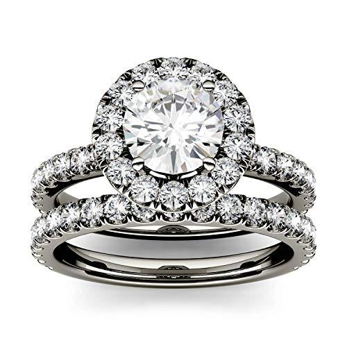 Charles & Colvard CDCSALEPRICE anillo de compromiso/boda - Oro blanco 14K - Moissanita de 6.5 mm de talla redonda, 2.02 ct. DEW, talla 19,5