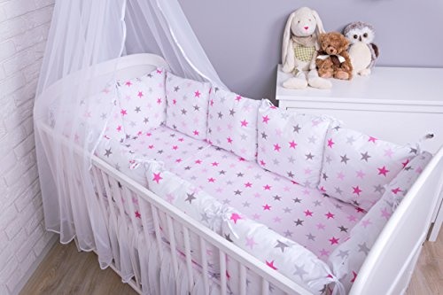 Amilian® Baby Nestchen Bettumrandung 420 cm Design: Sternchen GROß Rosa Bettnestchen Kantenschutz Kopfschutz für Babybett Bettausstattung