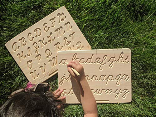 Montessori Uppercase / Lowercase Cursive Alphabet | Cursive ABC Letters Tracing Board with Wooden Pen by Cosmo-Crafts (Cursive Reversible Plain)