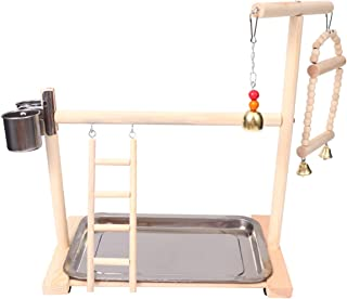 Hemobllo Parrot Playstand Bird Play Stand Swing Parrot Playground Wood Perch Gym Playpen Ladder With Feeding Bowl Bird Cag...
