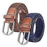 RUICHUANGS cinturones elasticos Para Hombres Mujeres Jeans(2 Piezas), Elásticos Tejidos Hebilla de Zinc