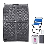 Anfan Portable Steam Sauna 2L Personal Home Sauna Spa for Weight Loss & Detox Relaxation w/Remote Control, Foldable Chair and Timer (Gray)