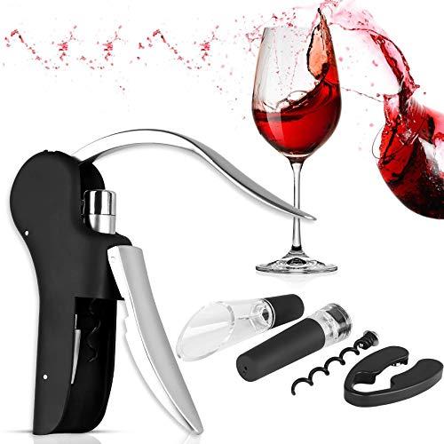 XREXS Vertikaler Hebel Korkenzieher Kaninchen Stil Korkenzieher Set 5 in 1 Flaschenöffner Manuell, Weinöffner mit Folienschneider, Vakuumstopper, Weinausgießer FDA Genehmigt