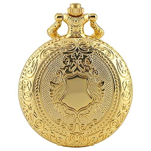 Reloj De Bolsillo De Cuarzo - Gold Shield Crown Pattern Reloj De Bolsillo De Cuarzo Collar Colgante Cadena Steampunk Reloj Coleccionables Joyas Regalos Para Hombres Mujeres, 1, Cadena Gruesa 38Cm