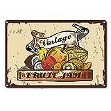 CREATCABIN Cartel de Fruta Vintage Retro Cartel de Chapa de Metal Divertido Arte de Pared Decoraciones para el Hogar Bar Cafetería Cocina Restaurante, 8 x 12 Pulgada