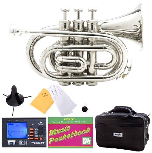 Mendini MPT-N Nickel Plated Bb Pocket Trumpet + Tuner