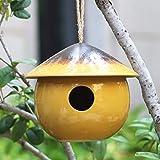 Tenforie Ceramic Birdhouses Bird Hut Hanging Hummingbird Nest for Outdoor -Yellow