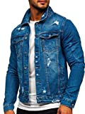 BOLF Herren Übergangsjacke Jeansjacke mit Reverskragen Trucker Jacket Freizeitjacke Denim Vintage Classic M.SARA AK588 Dunkelblau M [4D4]