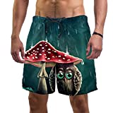 LXYDD Pantalones Cortos de Playa para Hombre Traje de baño de Surf XL,búho de Setas