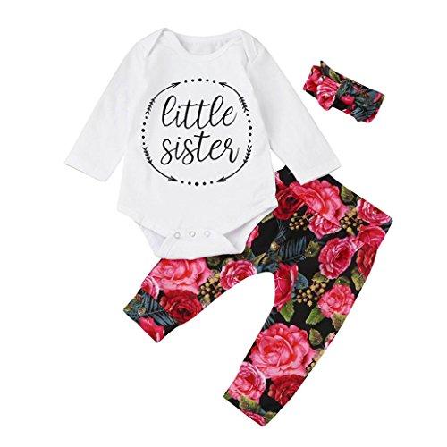 Bébé Ensemble de Vêtements,LMMVP Infantile Bébé Filles Impression florale Top + Bandeau +Longue Pantalon (80(6-12M), BLANC)