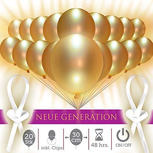 LumeeStar Premium 30 cm | leuchtende LED Luftballons mit Schalter | 20 STK | 48h | inkl. Verschlüsse – Made in Germany | goldene Hochzeit | Jubiläum | 50. Geburtstag
