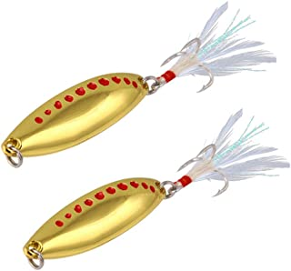 DOITPE 2PCS Fishing Jigs Spoon Fishing Lures Sinking Jigs Treble Hooks with Feather Metal Sequins Fish Bait Lures for Bass Trout Walleyes Pike