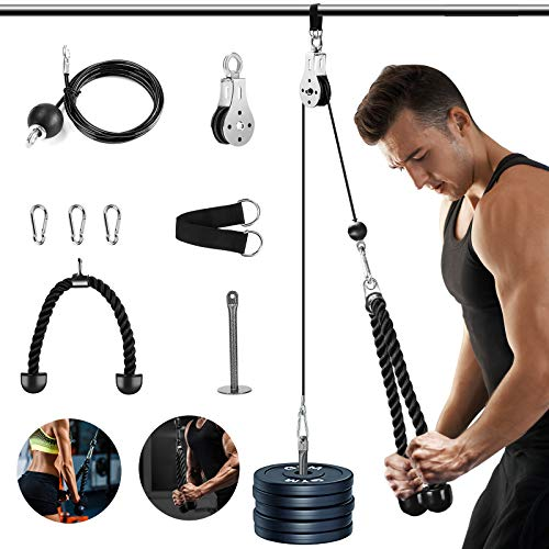 Fitness Pulley Cable System, Pulley System Gym, 2.0M Bicep Tricep Trainer Arm Twisted Pull Down Rope with Handles and Loading Pin, Gym Home Exercise Workout Accessories (2.0M)